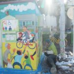 今日の朝日新聞の夕刊に、去年描いたトイレ壁画についての記事が掲載されました。