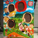りんご狩りとぶどう狩りとさくらんぼ狩りの顔はめ記念撮影パネルを描きました。年内いっぱいは2万円で承ります。
